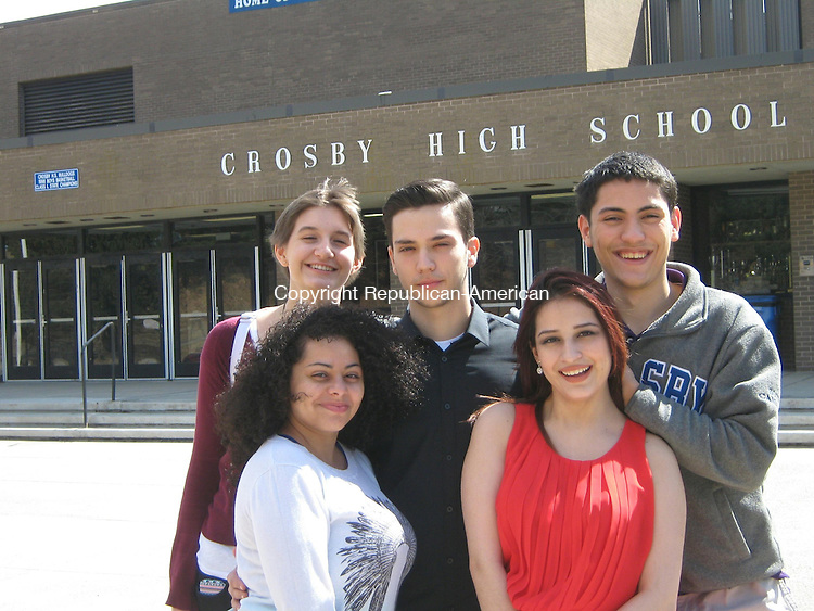 WATERBURY -- Crosby High School's LifeSmarts team won the state championship March 14. Now, they're working to raise $3,000 to compete in the nationals in Florida in April. The team includes (rear, left to right,) Patricia (Mierzejewski) Myer, Inri Panajoti, Belman Soto and (front, left to right) Caroline Infante and team captain Danixa Molina.