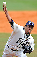 3 March 2013:  FIU right-handed pitcher Mike Franco (34) throws as the University of Mississippi Ole Miss Rebels defeated the FIU Golden Panthers, 8-1, at University Park Stadium in Miami, Florida.