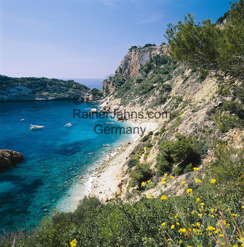 Spain, Costa Blanca, Cap de la Nau near Javea: Playa Ambolo   Spanien, Costa Blanca, Cap de la Nau bei Javea: Playa Ambolo