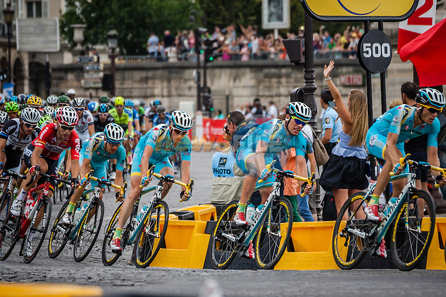 Peloton with Astana Pro Team leading, Tour de France, Stage 21: Évry > Paris Champs-Élysées, UCI WorldTour, 2.UWT, Paris Champs-Élysées, France, 27th July 2014, Photo by Pim Nijland