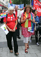 Assembly Member Julie Morgan (R) joins thousands of people in this year's Pride Parade in the centre of Cardiff, Wales, UK. Sayurday 26 August 2017