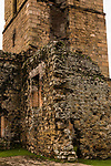 Detail of the tower of the Cathedral of Our Lady of Asunción, built between 1619 and 1626.  The cathedral was destroyed and only the tower remains.  Ruins of Panama Viejo, Old Panama.  Founded in 1519, and destroyed by Henry Morgan, the pirate, in 1671.  A UNESCO World Heritage Site.