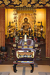 Kyoto City, Japan<br /> Adashino Nenbutsu-ji Temple interior with gold Buddha