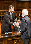 "Antonio Fraguas de Pablo ""Forjes"" and the Spanish king, Felipe VI during the Quevedos, an  iberoamerican award of grafic humor 2014. May 26,2016. (ALTERPHOTOS/Rodrigo Jimenez)"