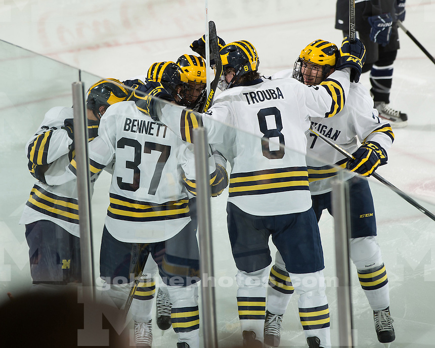 The University of Michigan ice hockey team beat Bentley, 6-3, at Yost Ice Arena in Ann Arbor, Mich., on October 19, 2012.