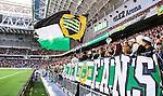 Stockholm 2014-08-24 Fotboll Superettan Hammarby IF - Ljungskile SK :  <br /> Hammarbys supportrar med flaggor<br /> (Foto: Kenta J&ouml;nsson) Nyckelord:  Superettan Tele2 Arena Hammarby HIF Bajen Ljungskile LSK supporter fans publik supporters