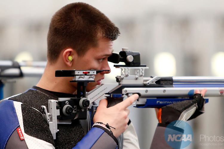 12 MAR 2016:  Spencer Cap, of The U.S. Air Force Academy, shoots during the NCAA Division I Men's and Women's Rifle Championship held at the Stile Athletics Field House in Akron, OH. Cap finished finished eighth in the competition with a final score of 77.8.  Jay LaPrete/NCAA Photos