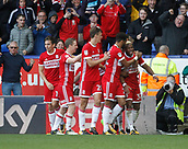 9th September 2017, Macron Stadium, Bolton, England; EFL Championship football, Bolton Wanderers versus Middlesbrough; Britt Assombalonga of Middlesbrough celebrates with his team mates after he scores his side's second goal after 71 minutes