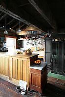 wooden open plan kitchen