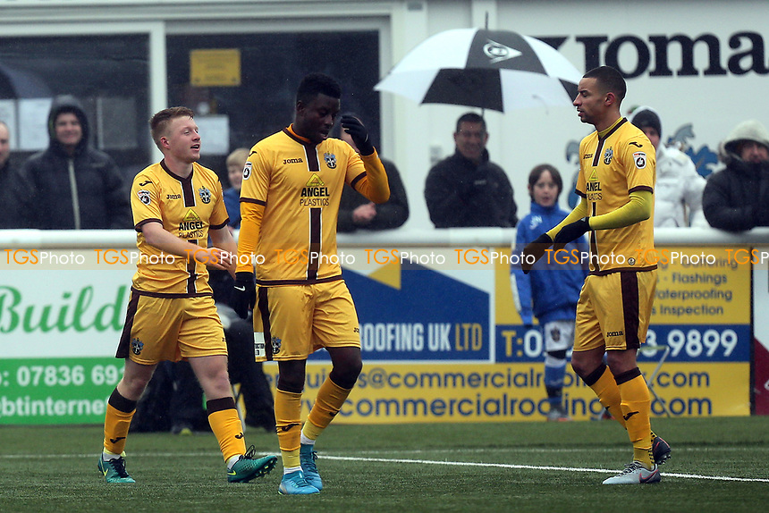 Tommy Wright of Sutton (left) is congratulated after scoring the opening goal during Sutton United  vs Dagenham & Redbridge, Vanarama National League Football at the Borough Sports Ground on 20th January 2018