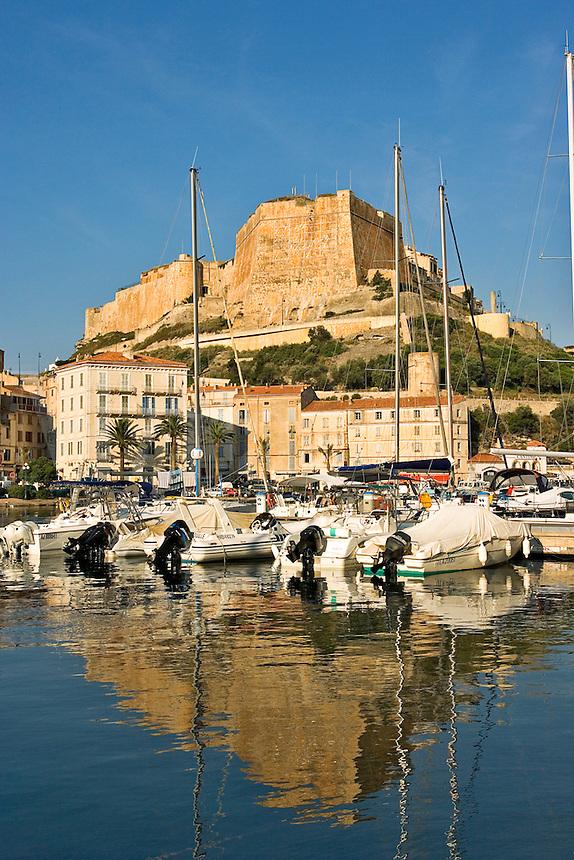 Bonifacio.  Old port, lower town and Citadel. Bastion de l'Etendard. Corsica. France.