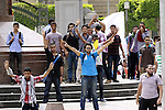 Egyptian supporters of ousted President Mohammed Morsi chant slogans during a demonstration outside Cairo University in Giza, near Cairo, May 20, 2014. Students who took their protest outside the campus Wednesday clashed with security forces. Photo by Mohammed Bendari