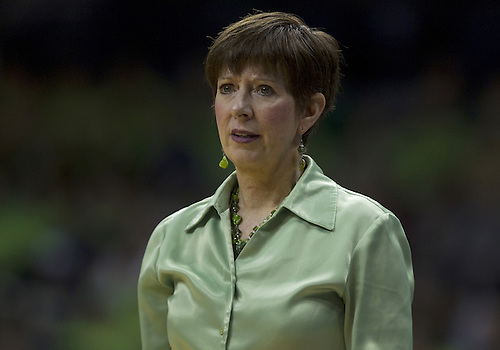December 05, 2012:  Notre Dame head coach Muffet McGraw during NCAA Women's Basketball game action between the Notre Dame Fighting Irish and the Baylor Bears at Purcell Pavilion at the Joyce Center in South Bend, Indiana.  Baylor defeated Notre Dame 73-61.