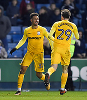 Preston's Callum Robinson celebrates scoring his side's equalising goal to make the score 1-1<br /> <br /> Photographer Jon Hobley/CameraSport<br /> <br /> The EFL Sky Bet Championship - Millwall v Preston North End - Saturday 13th January 2018 - The Den - London<br /> <br /> World Copyright &copy; 2018 CameraSport. All rights reserved. 43 Linden Ave. Countesthorpe. Leicester. England. LE8 5PG - Tel: +44 (0) 116 277 4147 - admin@camerasport.com - www.camerasport.com
