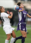 2 December 2005: Penn State's Heather Tomko (l) and Portland's Angie Woznuk (6). The University of Portland Pilots defeated the Penn State Nittany Lions 4-3 on penalty kicks after the teams played to a 0-0 overtime tie in their NCAA Division I Women's College Cup semifinal at Aggie Soccer Stadium in College Station, TX.