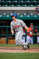 St. Lucie Mets catcher Dan Rizzie (7) follows through on a swing during the second game of a doubleheader against the Lakeland Flying Tigers on June 10, 2017 at Joker Marchant Stadium in Lakeland, Florida.  Lakeland defeated St. Lucie 9-1.  (Mike Janes/Four Seam Images)