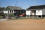 Chalet bungalows. Small fishing and sailing hamlet of Felixstowe Ferry at the mouth of the River Deben, Suffolk, England