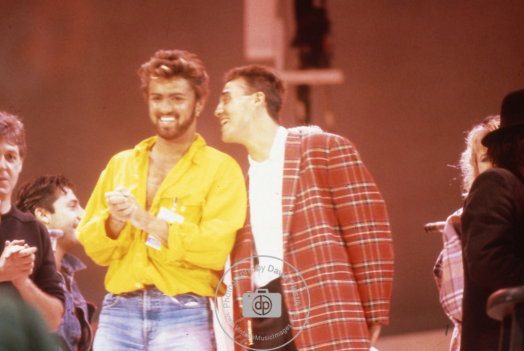 Live Aid 1985 Wembley Stadium, London , England. Paul McCartney, George Michael, Andrew Ridgeley
