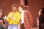 Live Aid 1985 Wembley Stadium, London , England. Paul McCartney, George Michael, Andrew Ridgeley