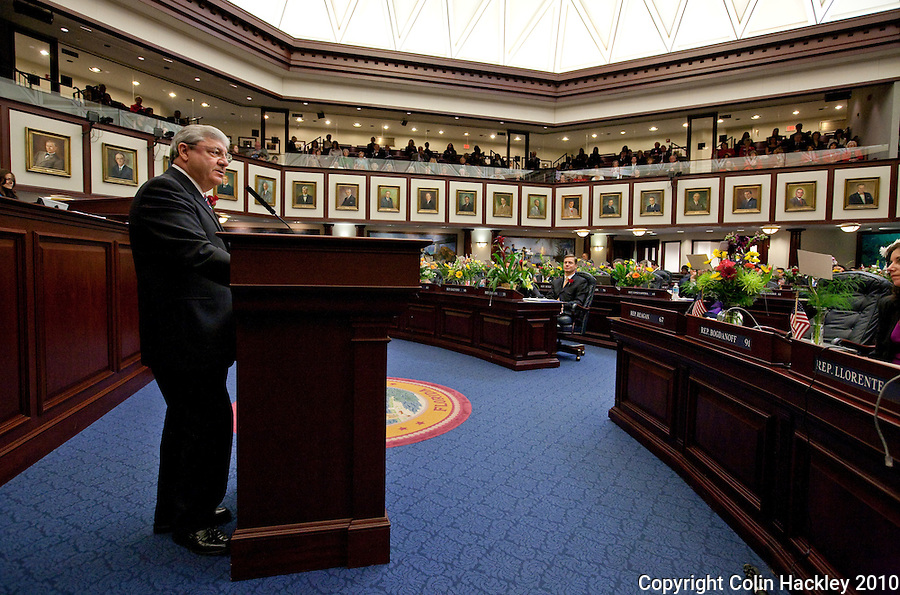 TALLAHASSEE, FLA. 3/2/10-OPENING DAY CH26-House Speaker Larry Cretul, R-Ocala, speaks from the well (floor podium) during the opening day of the legislative session, Tuesday at the Capitol in Tallahassee...COLIN HACKLEY PHOTO