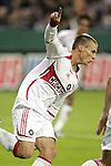 1 November 2007: Chicago's Chris Rolfe celebrates his first half goal. The Chicago Fire tied DC United 2-2 at RFK Stadium in Washington, DC in the second leg of a first round Major League Soccer playoff match. Chicago advanced on aggregate goals, 3-2.