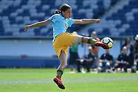 26 November 2017, Melbourne - SAM KERR (20) of Australia warming up prior to an international friendly match between the Australian Matildas and China PR at GMHBA Stadium in Geelong, Australia.. Australia won 5-1. Photo Sydney Low