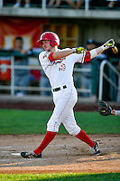 Nick Flair (19) of the Orem Owlz at bat against the Billings Mustangs in Pioneer League action at Home of the Owlz on July 25, 2016 in Orem, Utah. Orem defeated Billings 6-5. (Stephen Smith/Four Seam Images)