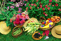 Baskets of garden produce and flowers fresh from picking with hats beside them, Midwest USA