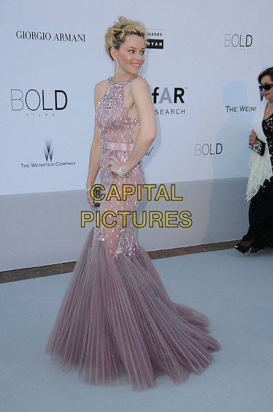 ELIZABETH BANKS.arrivals at amfAR's Cinema Against AIDS 2010 benefit gala at the Hotel du Cap, Antibes, Cannes, France during the Cannes Film Festival.20th May 2010.amfAR full length pink dusky fishtail dress silver beaded long maxi side purple lilac pleated jewel encrusted gem .CAP/CAS.©Bob Cass/Capital Pictures.