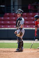 Winston-Salem Dash catcher Evan Skoug (19) during a Carolina League game against the Carolina Mudcats on August 14, 2019 at Five County Stadium in Zebulon, North Carolina.  Winston-Salem defeated Carolina 4-2.  (Mike Janes/Four Seam Images)