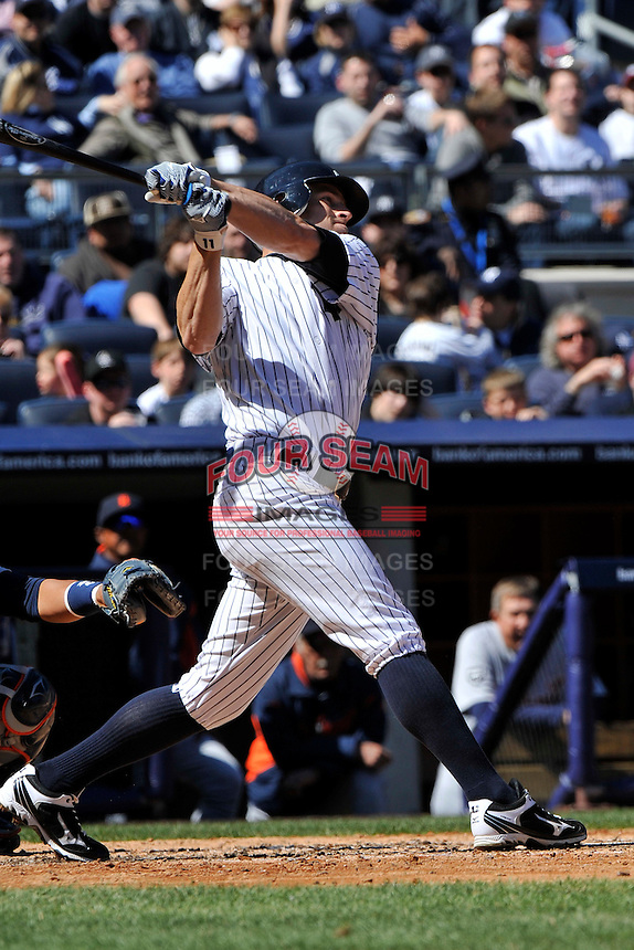 Apr 03, 2011; Bronx, NY, USA; New York Yankees outfielder Brett Gardner (11) during game against the Detroit Tigers at Yankee Stadium. Tigers defeated the Yankees 10-7. Mandatory Credit: Tomasso De Rosa