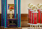 Spam trophies await their winners at the Isleton Spam Festival at Peter's Steakhouse in Isleton, California on Sunday, February, 16th, 2014.  Photo/Victoria Sheridan