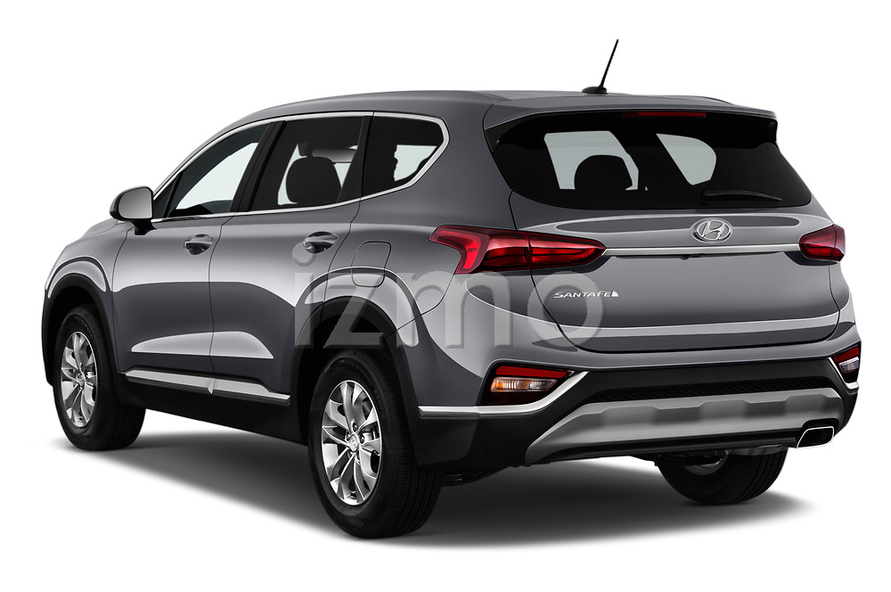 Car pictures of rear three quarter view of a 2019 Hyundai Santa FE SE 4 Door SUV angular rear