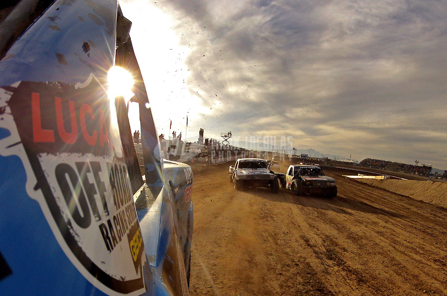 Dec. 11, 2011; Chandler, AZ, USA; Onboard view from the truck of LOORRS pro two unlimited driver Robby Woods during the Lucas Oil Challenge Cup at Firebird International Raceway. Mandatory Credit: Mark J. Rebilas-