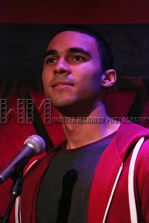 Austin Scott from the cast of 'One Day - The Musical' performing a sneak peek of the new pop-rock Musical at Rockwood Music Hall on January 28, 2015 in New York City.