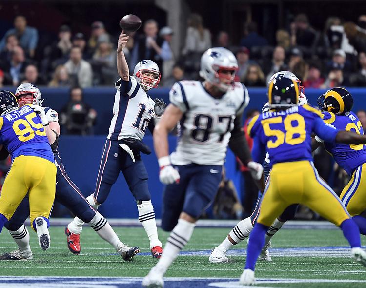 ATLANTA, GA - FEBRUARY 3:  end of first quarter to Super Bowl LIII at Mercedes-Benz Stadium in Atlanta, Georgia on February 3, 2019. (Staff Photo By Christopher Evans/MediaNews Group/Boston Herald)