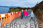 The O'Sullivan children Tadhg, Eadaoin and Paddy who have to walk to school as their road is closed after a landslide with back: Ethan and Doug Victor Stephen, Linda, Timmy and Jerry O'Sullivan