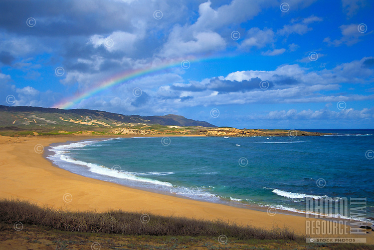 Kepuhi beach with rainbow, Molokai