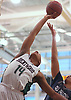 Zed Key #14 of Brentwood, left, battles for a rebound during a non-league varsity boys basketball game against All Hallows (Bronx) in the Gary Charles Hoop Classic at Adelphi University on Sunday, Jan. 7, 2018. All Hallows defeated Brentwood by a score of 65-60.