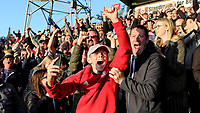 Brentford fans celebrate their third goal against Millwall during Brentford vs Millwall, Sky Bet EFL Championship Football at Griffin Park on 19th October 2019