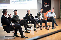 "From left: Occidental College Professor of Practice Christopher Hawthorne, Los Angeles' first-ever chief design officer; Annie Chu, Chu + Gooding Architects; Barbara Bestor, Bestor Architecture; Jeffrey Inaba, Inaba Williams and Andrew Kovacs, Office Kovacs.<br /> Occidental College's 3rd LA (Re)Designing LA series continues in the Ahmanson Auditorium at The Museum of Contemporary Art (MOCA) on March 27, 2019. Hosted by Oxy Professor of Practice and Chief Design Officer for the City of Los Angeles Christopher Hawthorne, guest speakers and panelists discussed ""Strange Beauty: Making Sense of L.A. Architecture from the 1980s and 1990s.""<br /> 3rd LA is co-sponsored by Occidental, the Mayor's Office and the Los Angeles Department of Cultural Affairs.<br /> (Photo by Marc Campos, Occidental College Photographer)"