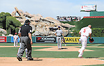 Yu Darvish (Rangers),<br /> MAY 4, 2014 - MLB :<br /> Albert Pujols of the Los Angeles Angels heads to first base after being hit by a pitch by Yu Darvish of the Texas Rangers in the fifth inning during the Major League Baseball game at Angel Stadium in Anaheim, California, United States. (Photo by AFLO)