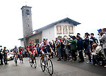 Stefan Denifl (AUT) IAM Cycling, first to cross the Madonna del Ghisallo during the Il Lombardia NamedSport 2016 cycle race, running 241 km from Como to Bergamo, Italy. 1st October 2016.<br /> Picture: ANSA/Claudio Peri | Newsfile<br /> <br /> <br /> All photos usage must carry mandatory copyright credit (© Newsfile | Matteo Bazzi)