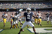 01 October 2005:  Penn State's Derrick Williams (2) celebrates after his first of 2 rushing TDs of the game..Penn State Nittany Lions  defeated the Minnesota Golden Gophers  44-14 September 1, 2005 at Beaver Stadium in State College, PA..