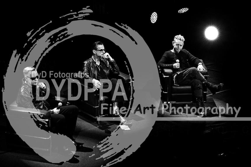 Martin Gore, Dave Gahan und Andrew Fletcher von Depeche Mode bei einer Pressekonferenz zur Veröffentlichung des Albums 'Spirit' und der bevorstehenden 'Global Spirit World Tour 2017/18' im Triennale di Milano Teatro Dell'Arte. Mailand, 11.10.2016