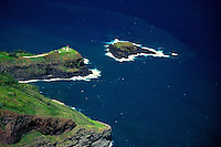 Aerial of Kilauea Point National Wildlife Refuge and lighthouse on Kauai with Mokuaeae Islet and crater hill where the lighthouse stands.Many native seabirds make their nest here.