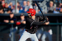Batavia Muckdogs designated hitter Michael Donadio (7) at bat during a game against the Auburn Doubledays on June 15, 2018 at Falcon Park in Auburn, New York.  Auburn defeated Batavia 5-1.  (Mike Janes/Four Seam Images)