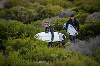 MARGARET RIVER, Western Australia/AUS (Saturday, April 14, 2018) Bronte MacAulay (AUS) with here father and coach Dave MacAulay (AUS) looking at Nth Point.- Stop No. 3 on the World Surf League (WSL) Championship Tour, the Margaret River Pro, continued today with the remaining heats of men&rsquo;s Round 1 and women&rsquo;s Round 1 in heavy four-to-six foot (1.2 - 1.8 metre) waves at North Point.<br /> <br /> North Point, the backup site known for its intense, barreling waves, hosted the world&rsquo;s best female CT surfers for the first time in history today. Despite the slower and more challenging conditions, the women dominated the day, including the highest single-wave scores of the event from Tatiana Weston-Webb (HAW) and Carissa Moore (HAW).  <br /> <br /> 2012 WSL Champion Joel Parkinson (AUS) beat Michel Bourez (PYF) and Patrick Gudauskas (USA) to close out the men&rsquo;s competition in Heat 12. Parkinson&rsquo;s heat total of a 10.34 was the highest of the men's morning as conditions slowed over the low tide, showing experience pays at the elite level.Photo: joliphotos.com