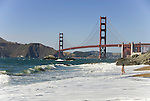 San Francisco: Baker Beach with Golden Gate Bridge in background.  Photo # 2-casanf83372.  Photo copyright Lee Foster