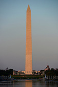 Washington Monument in Washington, DC looking east from the steps of the Lincoln Memorial in the last light just before sunset on an early summer evening, June 24, 2014.<br /> Credit: Ron Sachs / CNP